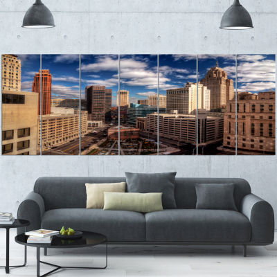 Designart Amazing Urban City With Skyline Extra Large Canvas Art Print - 5 Panels