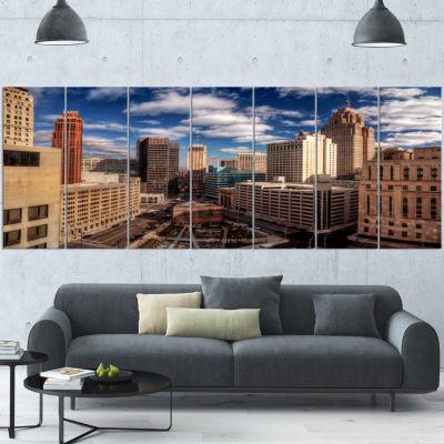 Designart Amazing Urban City With Skyline Extra Large Canvas Art Print - 6 Panels