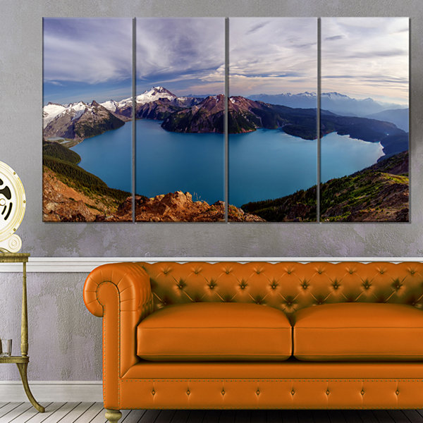 Design Art Clear Lake With Bright Sky Extra LargeLandscape Canvas Art Print - 4 Panels