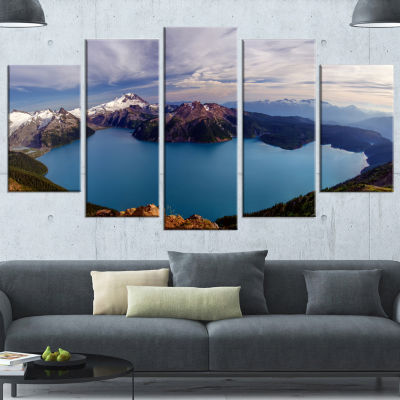 Designart Clear Lake With Bright Sky Extra LargeLandscape Wrapped Canvas Art Print - 5 Panels