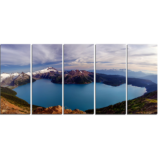 Design Art Clear Lake With Bright Sky Extra LargeLandscape Canvas Art Print - 5 Panels