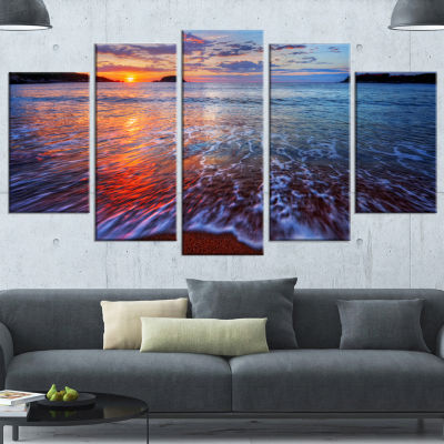 Placid Shore And Whimsical Clouds Seashore CanvasArt Print - 5 Panels
