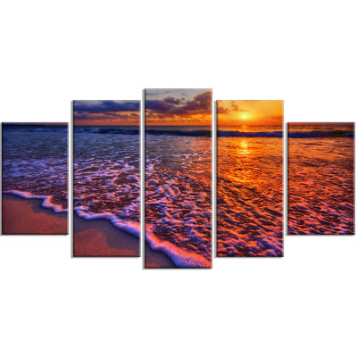 Colorful Sunset And Wavy Waters Seashore Wrapped Canvas Art Print - 5 Panels
