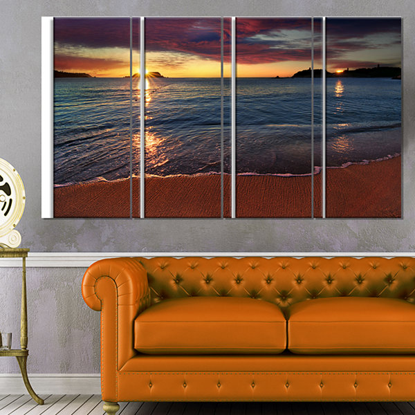 Designart Beautiful Clear Seashore At Sunset Seashore Canvas Art Print - 4 Panels