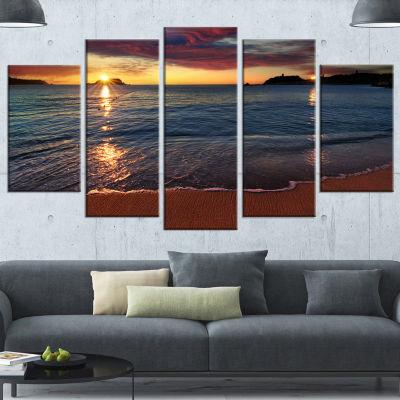 Designart Beautiful Clear Seashore At Sunset Seashore Canvas Art Print - 5 Panels