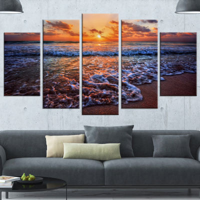 Designart Roaring Sea Wavers During Sunset Seashore Canvas Art Print - 4 Panels