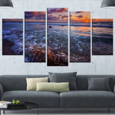 Designart Cloudy Sky And Stormy Waves Seashore Wrapped Canvas Art Print - 5 Panels