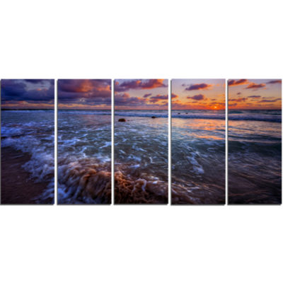 Cloudy Sky And Stormy Waves Seashore Canvas Art Print - 5 Panels