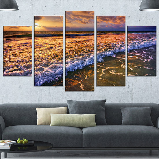 Designart Beautiful Sunset With White Waters Seashore Canvas Art Print 4 Panels