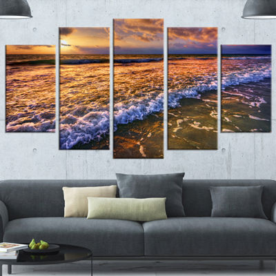 Designart Beautiful Sunset With White Waters Seashore Wrapped Canvas Art Print - 5 Panels