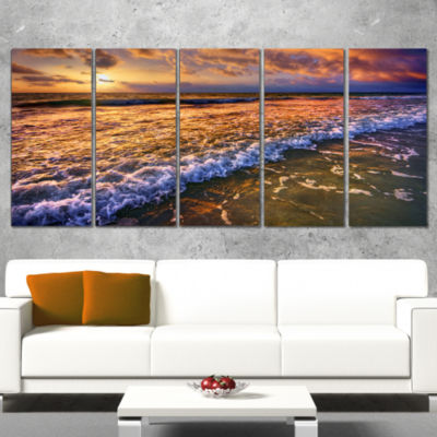 Beautiful Sunset With White Waters Seashore CanvasArt Print - 5 Panels