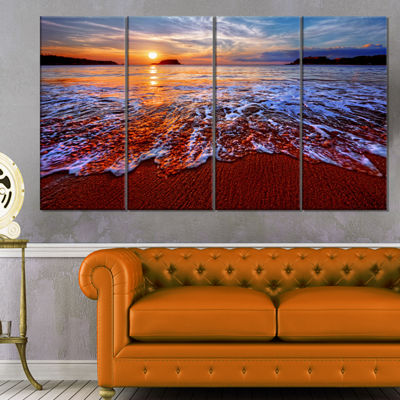 Designart Colorful Sunset With Bright Waters Seashore Canvas Art Print - 4 Panels