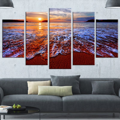 Designart Colorful Sunset With Bright Waters Seashore Wrapped Canvas Art Print - 5 Panels
