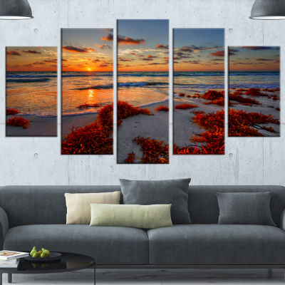 Designart Beautiful Shore And Cloudy Sky Extra Large Landscape Wrapped Canvas Art Print - 5 Panels