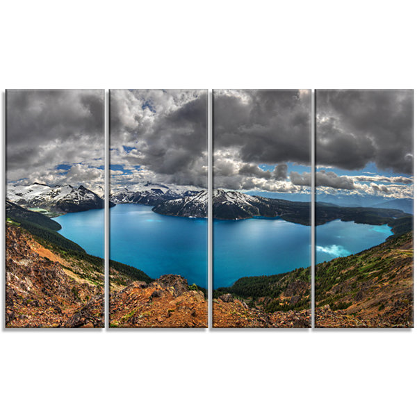 Design Art Lake Surrounded By Mountains Extra Large LandscapeCanvas Art Print - 4 Panels