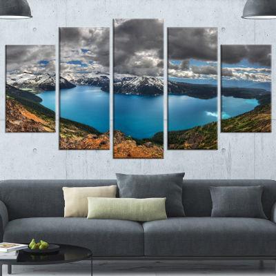 Designart Lake Surrounded By Mountains Extra LargeLandscapeCanvas Art Print - 5 Panels
