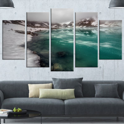Design Art Lake With Icy Topped Mountains Extra Large Landscape Canvas Art Print - 5 Panels