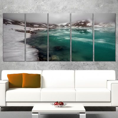 Designart Lake With Icy Topped Mountains Extra Large Landscape Canvas Art Print - 5 Panels