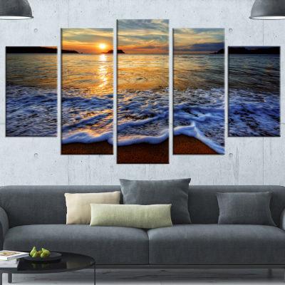 Designart Peaceful Sandy Beach With Waves YellowExtra LargeCanvas Art Print - 5 Panels