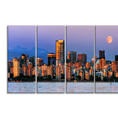 Designart Vancouver Downtown Skyscrapers Extra Large Canvas Art Print - 4 Panels