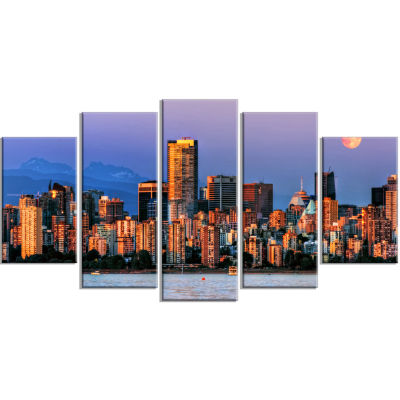 Vancouver Downtown Skyscrapers Blue Extra Large Canvas Art Print - 5 Panels