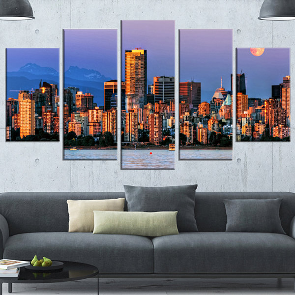 Designart Vancouver Downtown Skyscrapers Blue Extra Large Canvas Art Print - 5 Panels