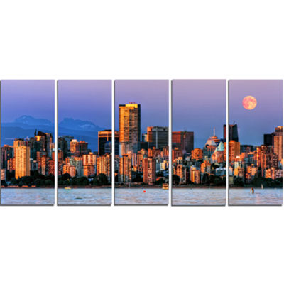 Designart Vancouver Downtown Skyscrapers Extra Large Canvas Art Print - 5 Panels