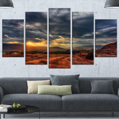 Beautiful Sunrise In Osoyoos Extra Large LandscapeWrapped Canvas Art Print - 5 Panels