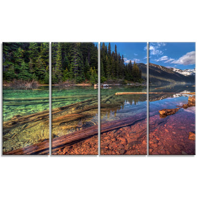 Designart Beautiful View Of Mountain Lake Extra Large Landscape Canvas Art Print - 4 Panels