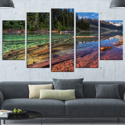 Designart Beautiful View Of Mountain Lake Extra Large Landscape Canvas Art Print - 5 Panels