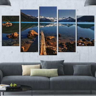 Designart Large Logs In Mountain Lake Extra LargeLandscapeWrapped Canvas Art Print - 5 Panels