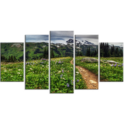 Designart Path Through Flowering Fields Extra Large Landscape Wrapped Canvas Art Print - 5 Panels