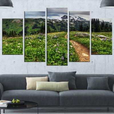 Designart Path Through Flowering Fields Extra Large Landscape Canvas Art Print - 5 Panels
