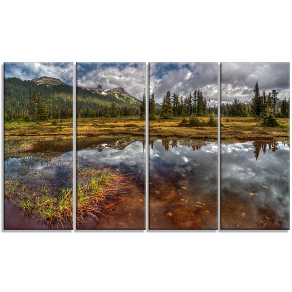 Designart Shallow Lake Under Cloudy Sky Extra Large Landscape Canvas Art Print - 4 Panels