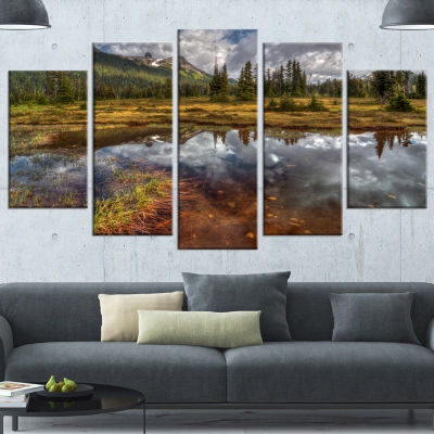 Designart Shallow Lake Under Cloudy Sky Extra Large Landscape Wrapped Canvas Art Print - 5 Panels