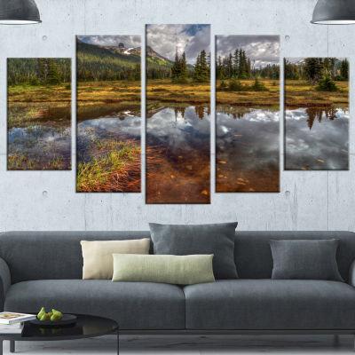 Designart Shallow Lake Under Cloudy Sky Extra Large Landscape Canvas Art Print - 5 Panels