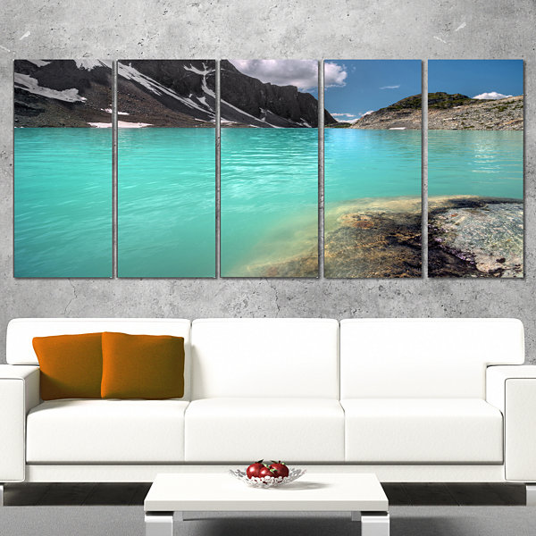 Designart Crystal Clear Mountain Lake Landscape Canvas Art Print - 5 Panels