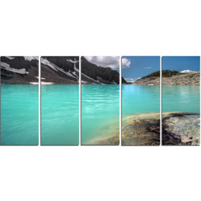 Crystal Clear Mountain Lake Landscape Canvas Art Print - 5 Panels