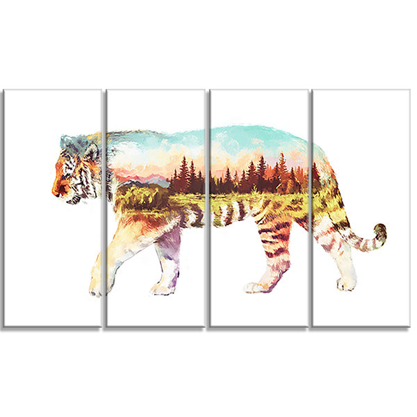 Designart Tiger Double Exposure Illustration LargeAnimal Canvas Art Print - 4 Panels