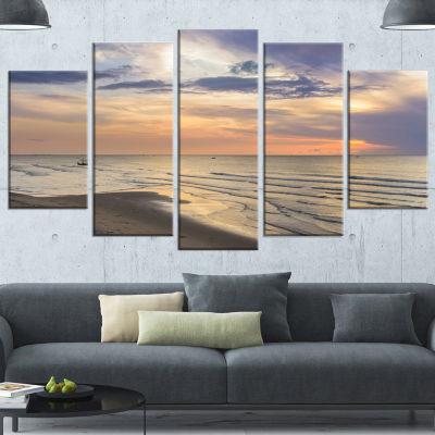 Designart Calm Sunset In Thailand Beach LandscapeCanvas Art Print - 5 Panels