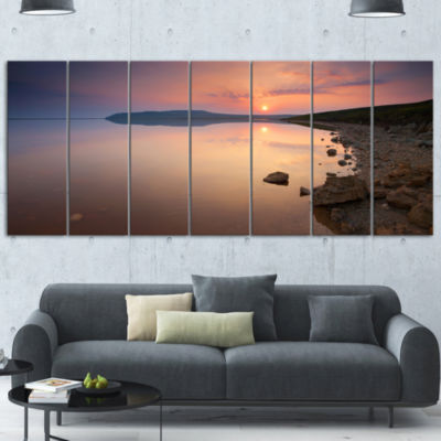 Designart Beautiful Sunrise Over Tranquil Sea Seashore Canvas Art Print - 5 Panels