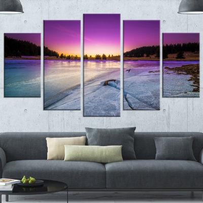 Designart Sunrise Over Frozen Lake Landscape Canvas Art Print - 5 Panels