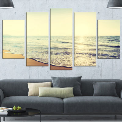 Bright Seashore During Sunset Seashore Canvas ArtPrint - 5 Panels