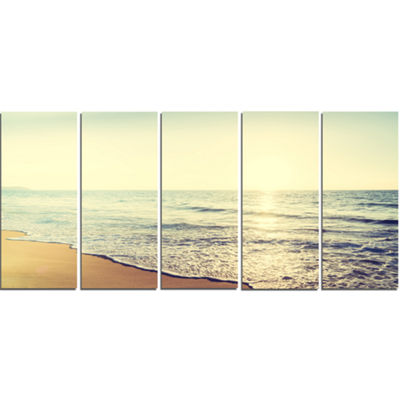 Designart Bright Seashore During Sunset SeashoreCanvas Art Print - 5 Panels