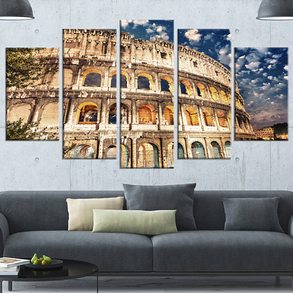 Designart Wonderful Coliseum At Dusk Landscape Wrapped Canvas Art Print - 5 Panels