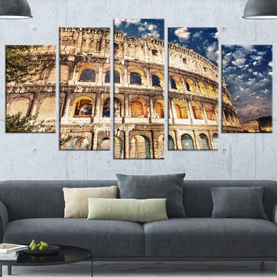Designart Wonderful Coliseum At Dusk Landscape Canvas Art Print - 5 Panels