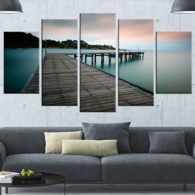 Wooden Bridge Into Blue Sea Modern Wrapped CanvasArt Print - 5 Panels