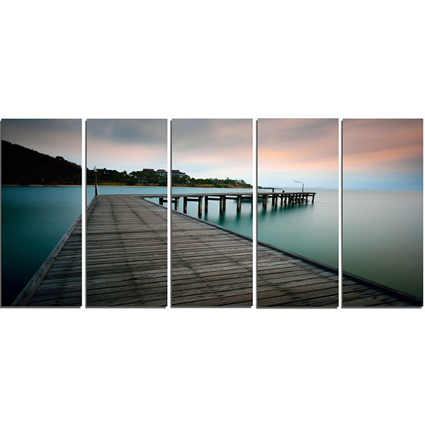 Design Art Wooden Bridge Into Blue Sea Modern Canvas Art Print - 5 Panels