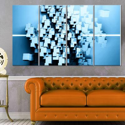 Design Art Blue 3D Cubes Fractal Design Abstract Canvas Wall Art Print - 4 Panels