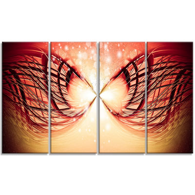 Bright Light On Red Fractal Design Abstract CanvasWall Art Print - 4 Panels